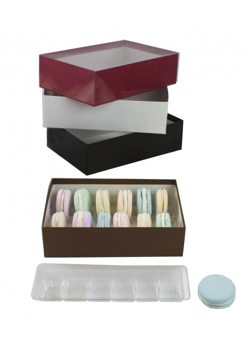 V2212 Series -  12 pc. Macaron Box w/ Clear Vinyl Lid - Assorted Colors - 50 per Case