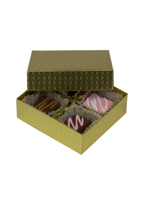 804-2007 - 1/8 lb. Solid Lid Candy Box - Gold Diamond