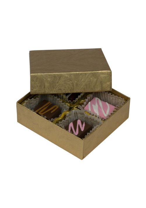 804-2044 - 1/8 lb. Solid Lid Candy Box - Elegant Gold