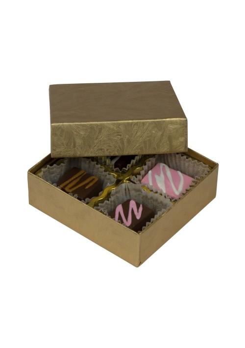 804-2044 - 1/8 lb. Solid Lid Candy Box - Elegant Gold