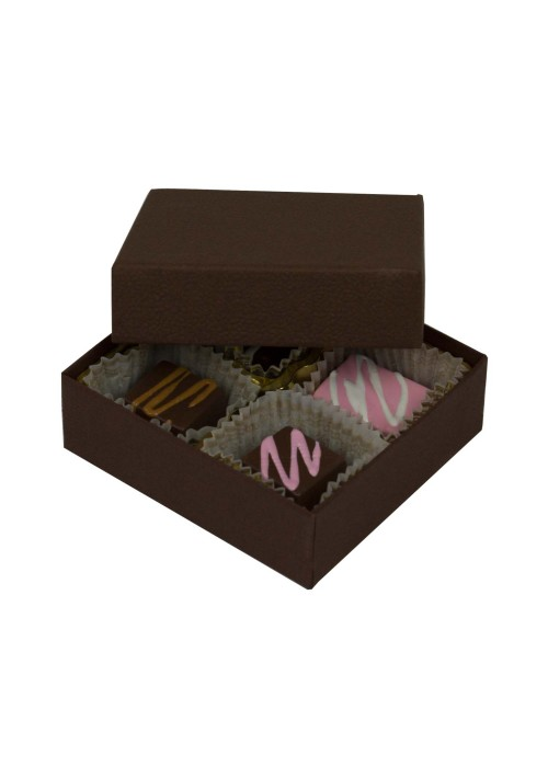 804-2057 - 1/8 lb. Solid Lid Candy Box -  Cocoa