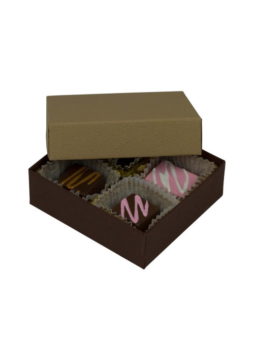 804-2057/2054 - 1/8 lb. Solid Lid Candy Box - Cocoa / Latte