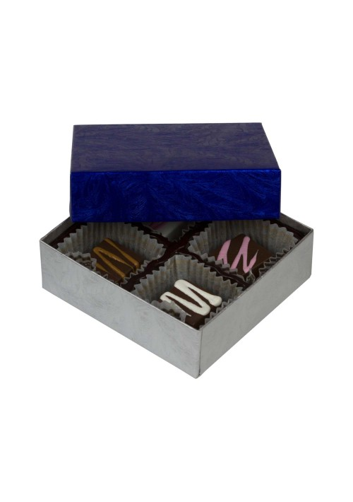 804-2085/2108 - 1/8 lb. Solid Lid Candy Box - Elegant Blue / Silver