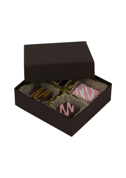 804-2251 - 1/8 lb. Solid Lid Candy Box - Dark Chocolate