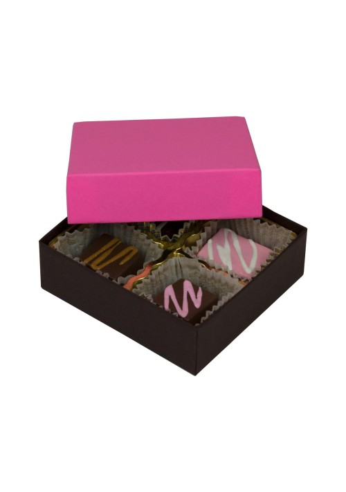 804-2251/2250 - 1/8 lb. Solid Lid Candy Box - Dark Chocolate / Pink