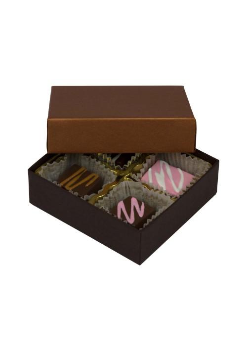 804-2251/2296 - 1/8 lb. Solid Lid Candy Box -  Dark Chocolate / Caramel