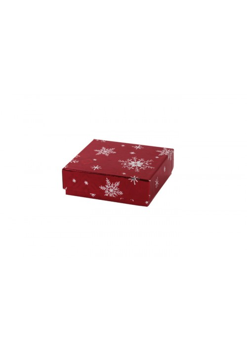 804-2310 - 1/8 lb. Solid Lid Candy Box - Red Snow Flake Pattern - 100 per case