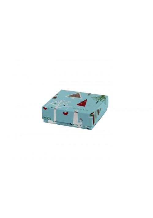 804-2311 - 1/8 lb. Solid Lid Candy Box - Blue Christmas Tree Pattern - 100 per Case