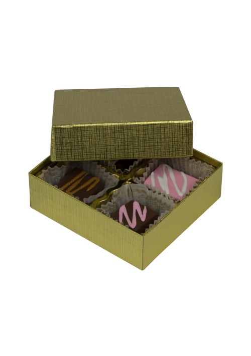 804-315 - 1/8 lb. Solid Lid Candy Box - Gold Linen