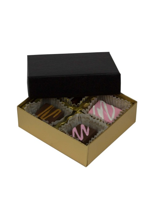 804-602/067 - 1/8 lb. Solid Lid Candy Box - Black / Gold