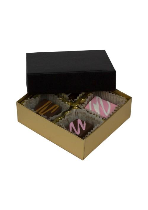 804-602/067 - 1/8 lb. Solid Lid Candy Box - Black / Gold