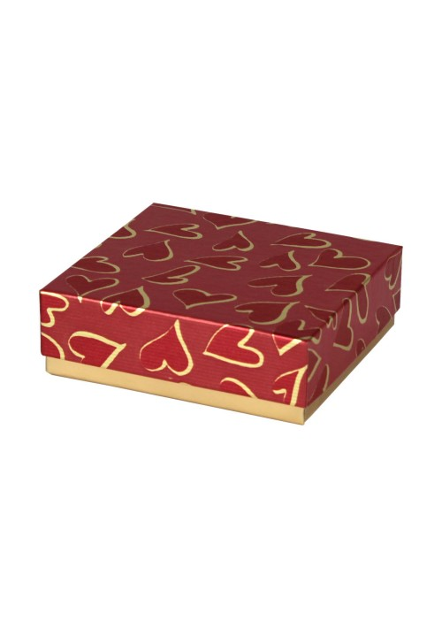 804-602/2305 - 1/8 lb. Solid Lid Candy Box - Red Hearts Pattern / Gold - 100 per case