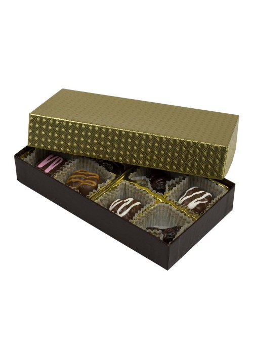 808-2002/2007 - 1/4 lb. Solid Lid Candy Box - Chocolate/ Gold Diamond