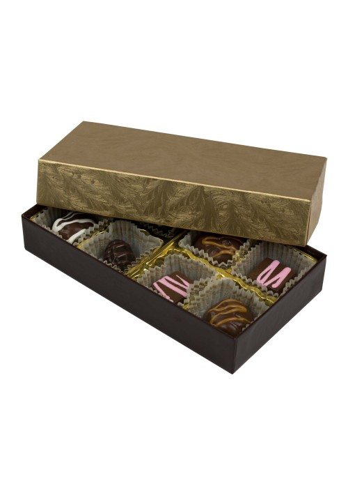 808-2002/2044 - 1/4 lb. Solid Lid Candy Box - Chocolate / Elegant Gold