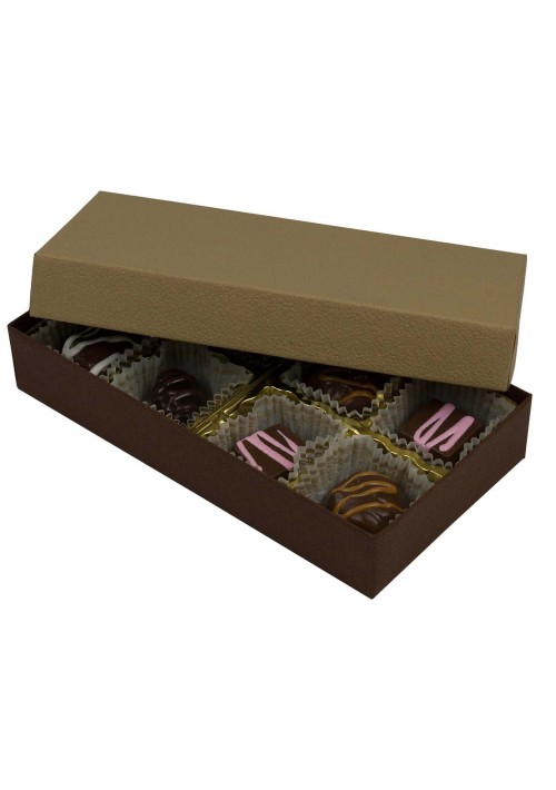 808-2057/2054 - 1/4 lb. Solid Lid Candy Box - Cocoa / Latte