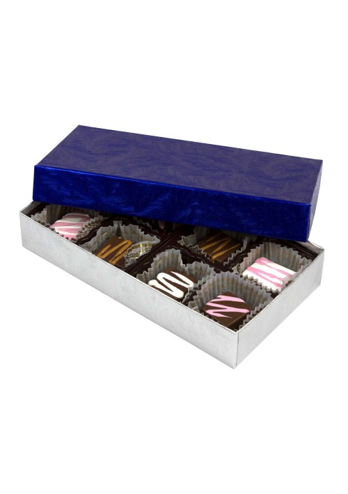 808S-2085/2108 - 1/4 lb. Solid Lid Candy Box - Elegant Blue / Silver