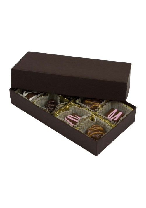 808-2251 - 1/4 lb. Solid Lid Candy Box - Dark Chocolate