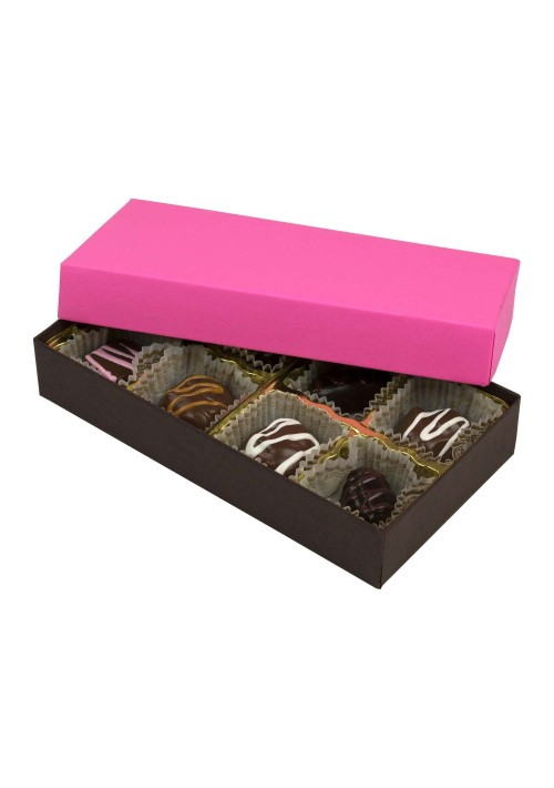 808-2251/2250 - 1/4 lb. Solid Lid Candy Box - Dark Chocolate / Pink