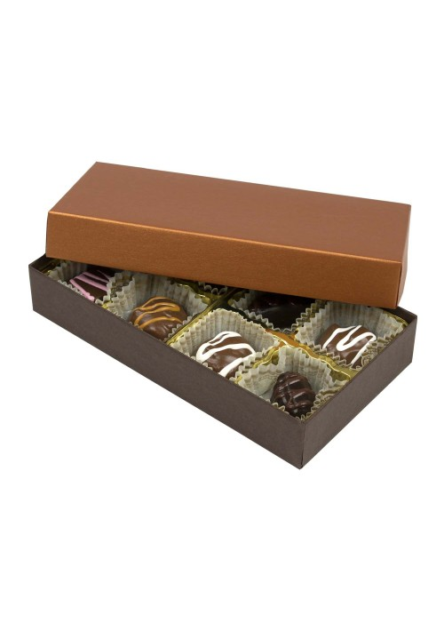 808S-2251/2296 - 1/4 lb. Solid Lid Candy Box - Dark Chocolate /Caramel