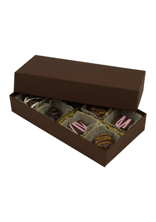 808-2290/2057 - 1/4 lb. Solid Lid Candy Box - Cocoa
