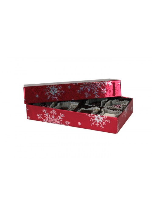 808-2310  - 1/4 lb. Solid Lid Candy Box - Red Snowflake Pattern - 100 per case
