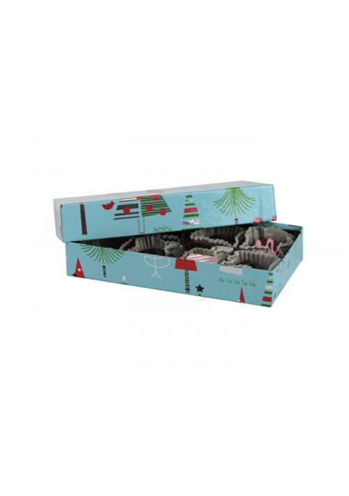 808-2311  - 1/4 lb. Solid Lid Candy Box - Blue Christmas Tree Pattern - 100 per case