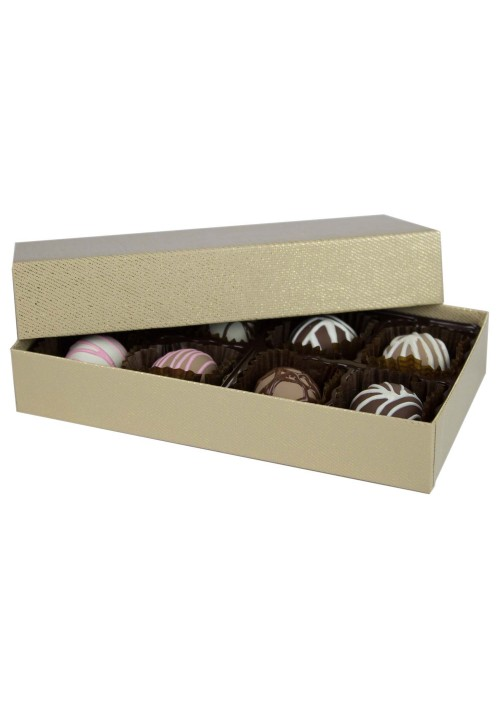 808-2341 - 1/4 lb. Solid Lid Candy Box - Gold Sparkle