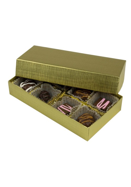 808-315 - 1/4 lb. Solid Lid Candy Box - Gold Linen  -  100 per case