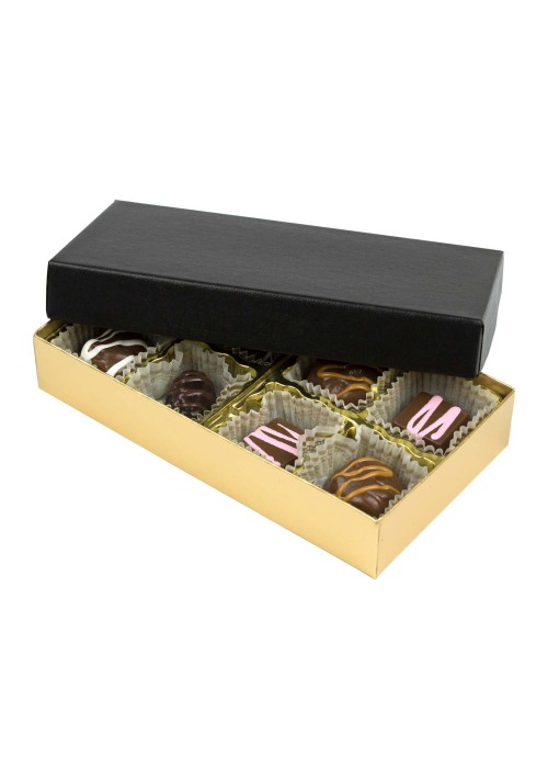 808-602/067- 1/4 lb. Solid Lid Candy Box - Black / Gold