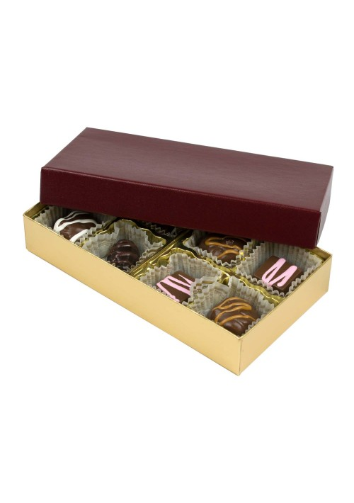 808S-602/2248 - 1/4 lb. Solid Lid Candy Box - Burgundy /Gold