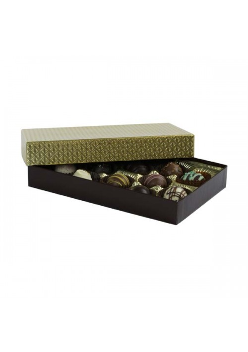 815-2002/2007 - 1/2 lb. Solid Lid Candy Box - Chocolate / Gold Diamond