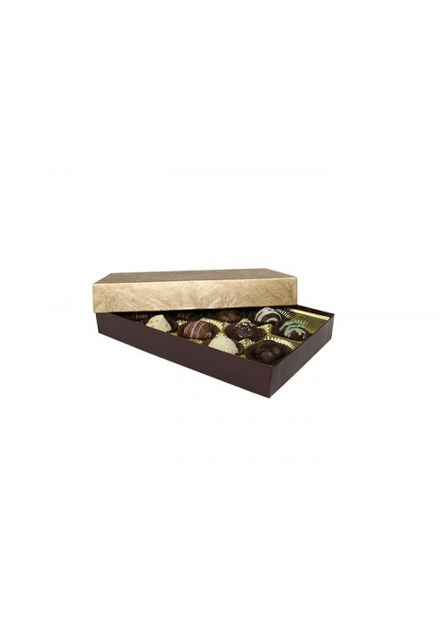 815D-2044 - 1/2 lb. Solid Lid Candy Box (TALL) - Elegant Gold 815-2094  - 50 per Case