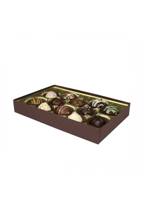 815S-2251 - 1/2 lb. Solid Lid Candy Box - Dark Chocolate
