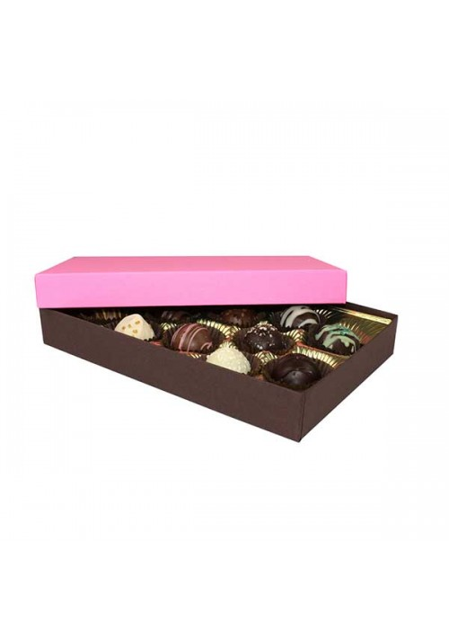 815S-2251/2 lb.250 - 1/2 lb. Solid Lid Candy Box - Dark Chocolate / Pink