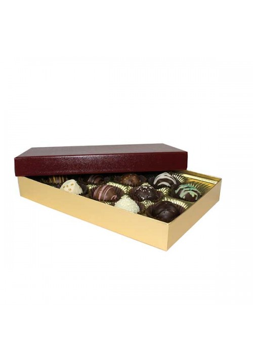 815S-602/2248 - 1/2 lb. Solid Lid Candy Box - Burgundy / Gold