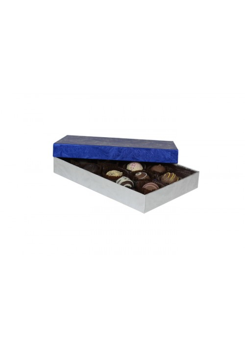 815-2085/2108 - 1/2 lb. Solid Lid Candy Box - Elegant Blue / Silver