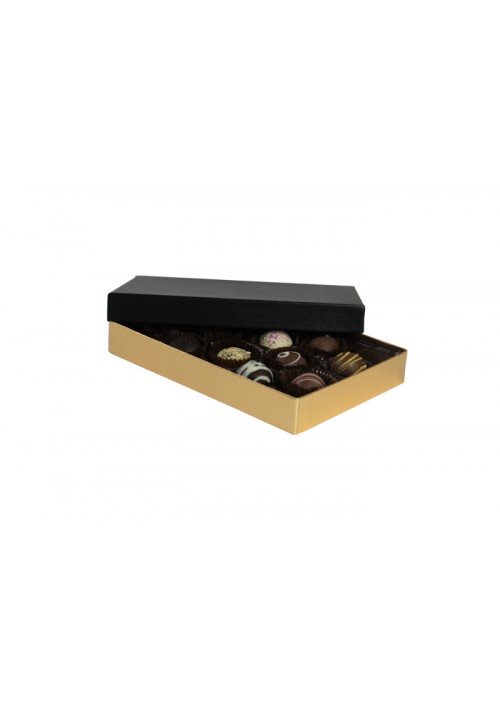 815S-602/067 - 1/2 lb. Solid Lid Candy Box - Black / Gold