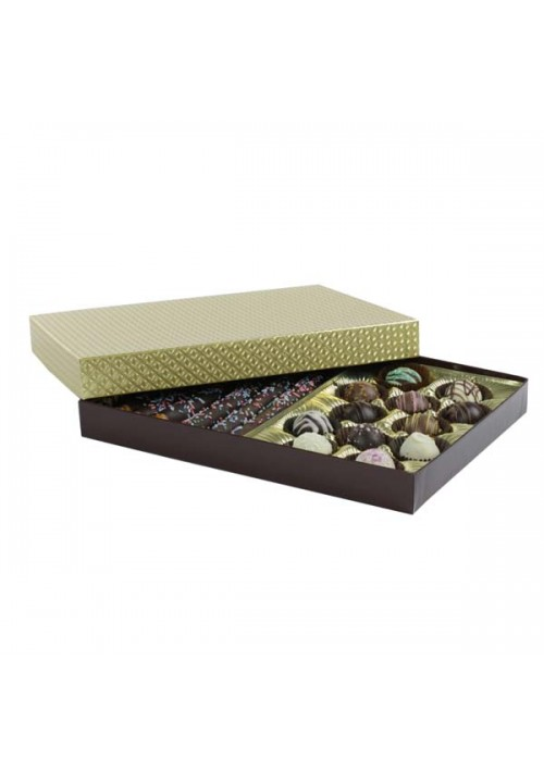 830-2002/2007 - 1 lb. Solid Lid Candy Box - Chocolate / Gold Diamond - 50 per case