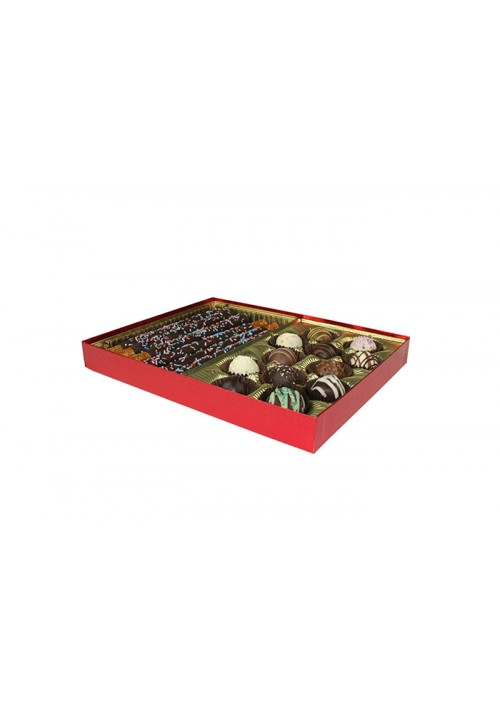 830S-2023 - 1 lb. Solid Lid Candy Box - Red Diamond