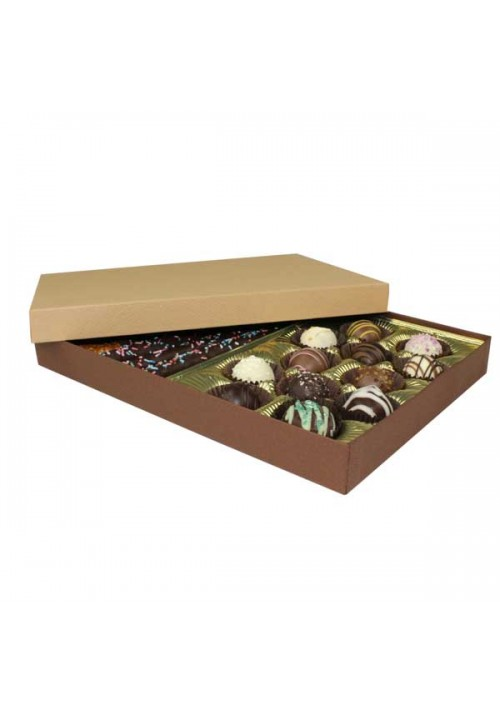 830-2057/2054 - 1 lb. Solid Lid Candy Box - Cocoa/Latte