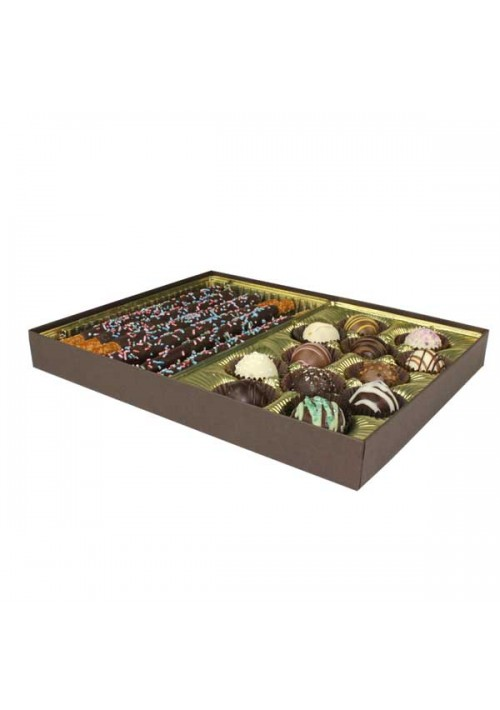 830-2251 - 1 lb. Solid Lid Candy Box - Dark Chocolate