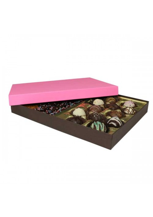 830-2251/2250 - 1 lb. Solid Lid Candy Box - Dark Chocolate / Pink