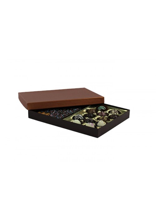 830S-2251/2296 - 1 lb. Solid Lid Candy Box - Dark Chocolate/Caramel Setup