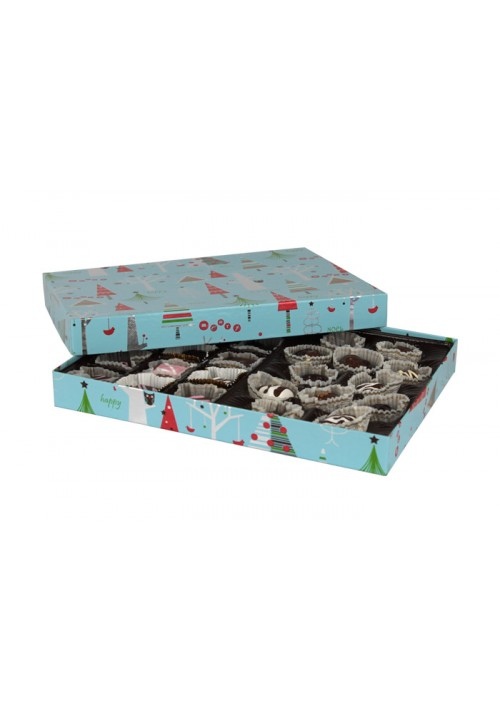 830-2311 - 1 lb. Solid Lid Candy Box - Blue Christmas Tree Pattern - 50 per case