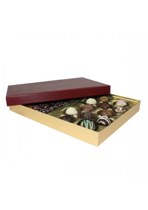 830S-602/2248 - 1 lb. Solid Lid Candy Box - Burgundy / Gold