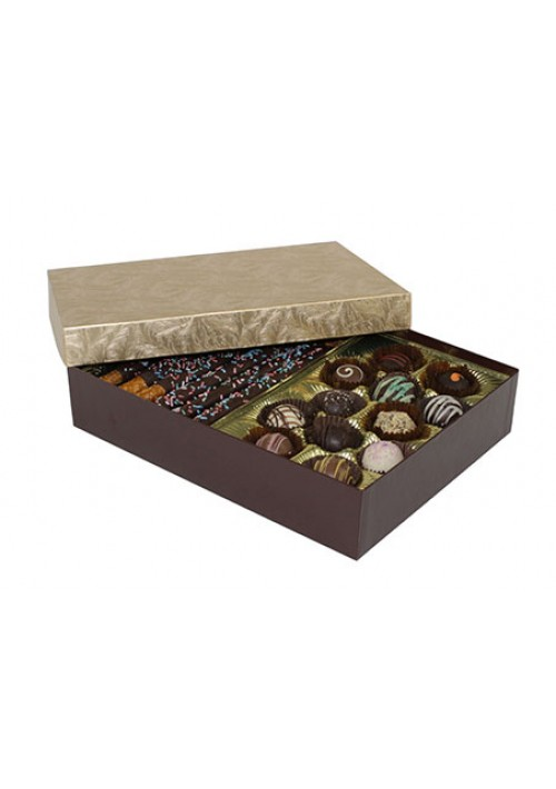 8302-2002/2044 - 2 lb. Double Layer Solid Lid Candy Box - Chocolate / Elegant Gold