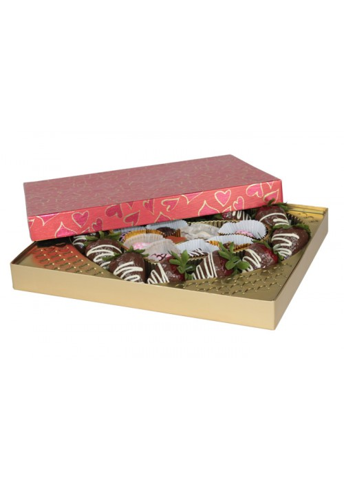 830S-602/2305  - 1 lb. Solid Lid Candy Box - Red Hearts Pattern / Gold - 50 per case