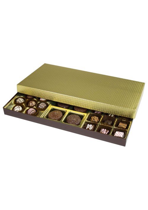 845-2007 - 1-1/2 lb. Solid Lid Candy Box - Gold Diamond