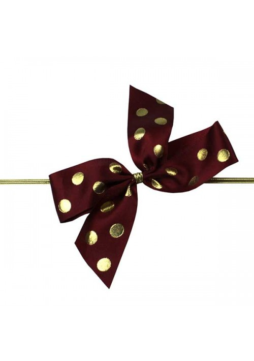 Burgundy/Gold Polka Dot Bow w/Stretch Tie (2 Loop: 3-1/2 Bow) - 100 per Case