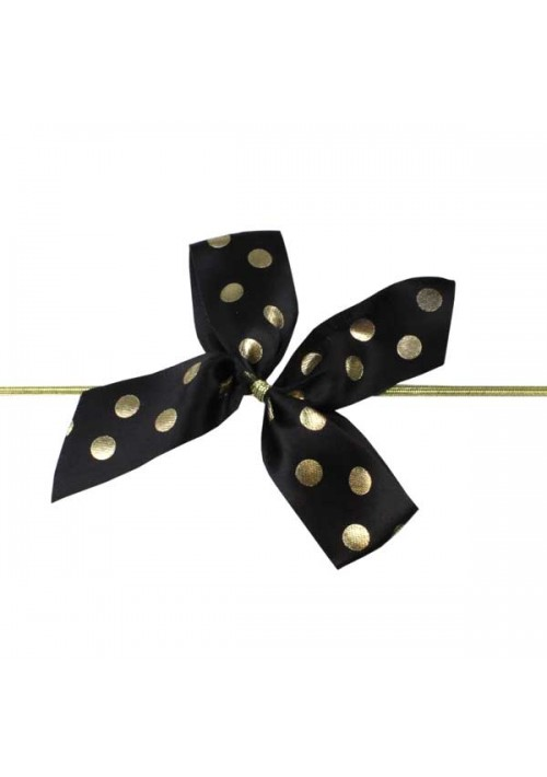 Black/Gold Polka Dot  Bow w/Stretch Tie (2 Loop: 3-1/2 Bow) - 100 per Case